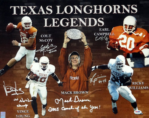 Texas Longhorns Team Greats Autographed 16x20 Photo With 5 Signatures Including Earl Campbell, Mack Brown, Vince Young, Colt McCoy & Ricky Williams With Stats PSA/DNA