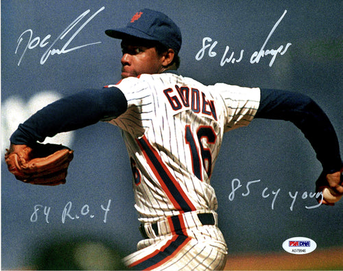 Doc Gooden signed Mets action 8x10 inscribed