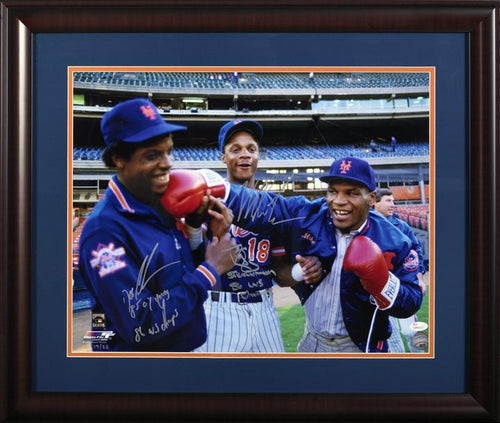 Mike Tyson, Doc Gooden, and Darryl Strawberry triple signed and inscribed 16x20 framed photo (JSA)