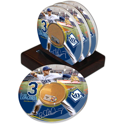 Game Used Dirt Coasters (Set of 4) - Tampa Bay Rays Evan Longoria
