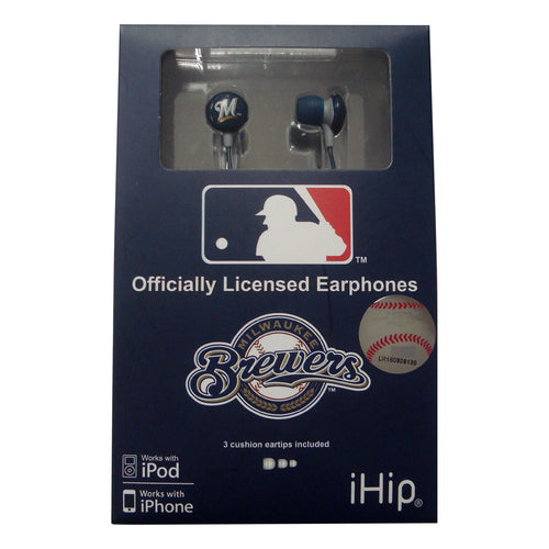 MLB Logo Earbuds. In-Ear earbuds with team logo 3D-Milwaulee Brewers