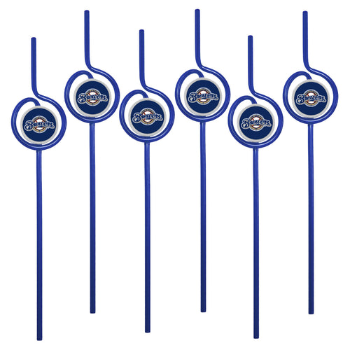 MLB Milwaukee Brewers Team Sip Straw 6-Pack