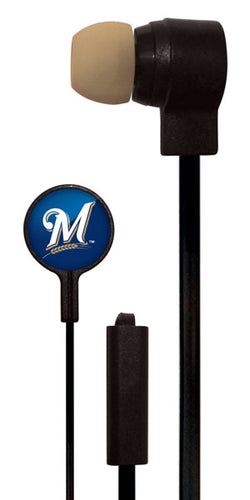 Mizco MLB Milwaukee Brewers Big Logo black cord earbuds