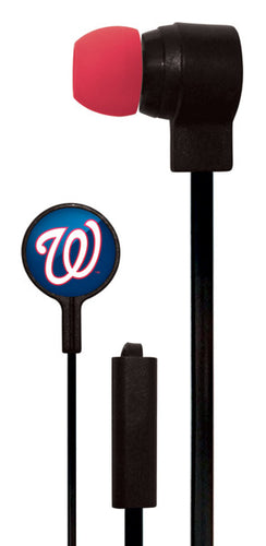 Mizco MLB Washington Nationals Big Logo black cord earbuds