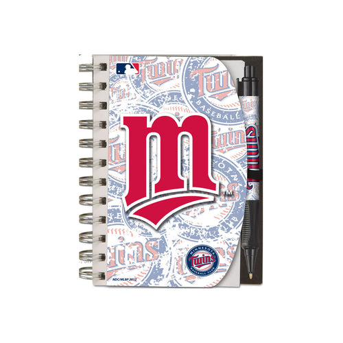 National Design Minnesota Twins Deluxe Hardcover 4 x 6-Inches Notebook and Grip Pen Set (12283-GBZ)