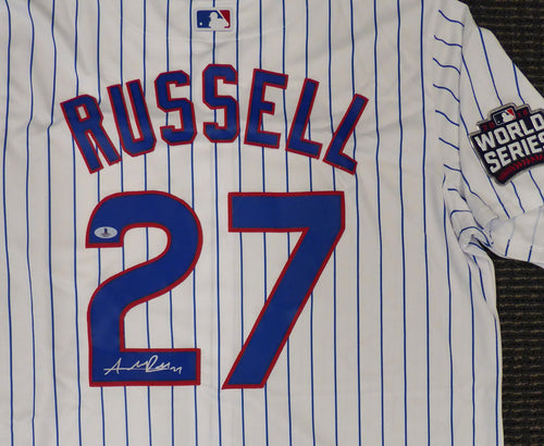 Chicago Cubs Addison Russell Autographed White Majestic Cool Base Jersey 2016 World Series Patch Size XL PSA/DNA