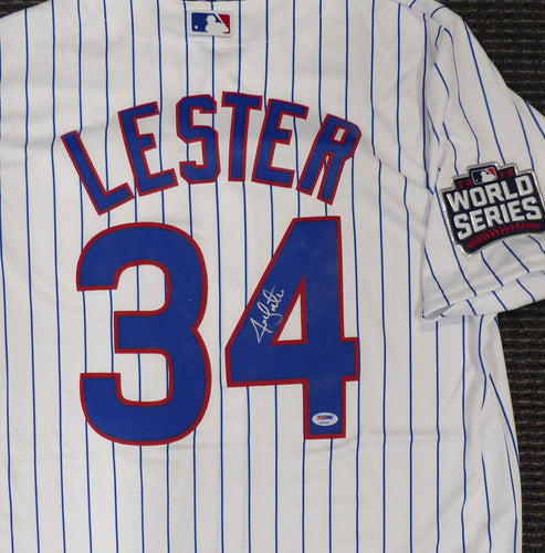 Chicago Cubs Jon Lester Autographed White Majestic Cool Base Jersey 2016 World Series Patch Size L PSA/DNA