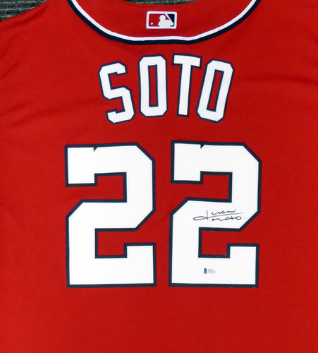 Washington Nationals Juan Soto Autographed Red Majestic Cool Base Jersey Size XL In Black  #138368