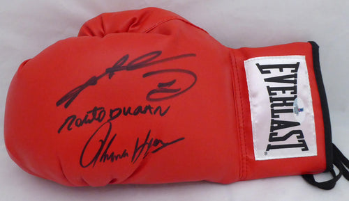 Boxing Greats Autographed Red Everlast Boxing Glove With 3 Signatures Including Sugar Ray Leonard, Thomas Hearns & Roberto Duran LH Beckett (BAS)  #138752