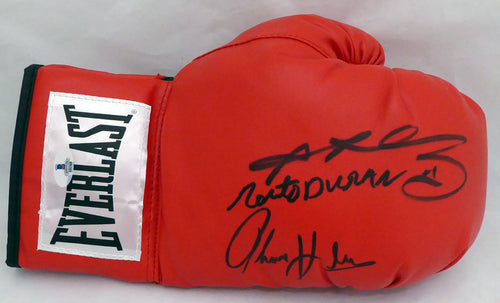 Boxing Greats Autographed Red Everlast Boxing Glove With 3 Signatures Including Sugar Ray Leonard, Thomas Hearns & Roberto Duran RH Beckett (BAS)  #138751