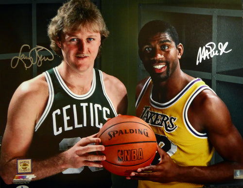 Magic Johnson & Larry Bird Autographed 16x20