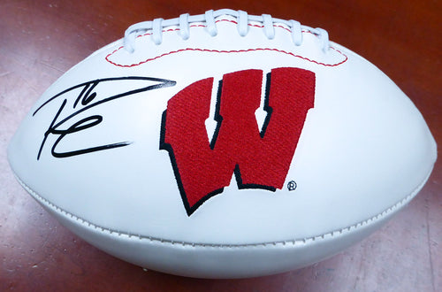 Russell Wilson Autographed White Logo Football Wisconsin Badgers