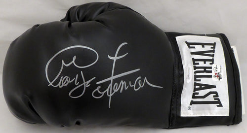 George Foreman Autographed Black Everlast Boxing Glove LH Signed In Silver JSA Stock #140636