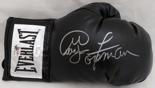 George Foreman Autographed Black Everlast Boxing Glove RH Signed In Silver JSA Stock #140637