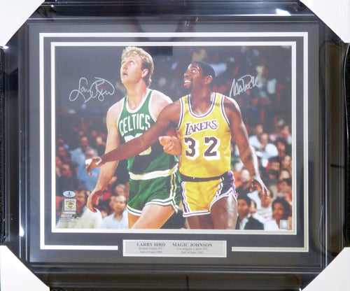 Larry Bird & Magic Johnson Autographed Framed 16x20 Photo