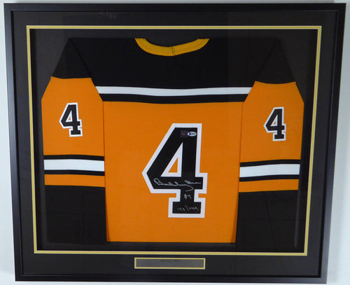 Boston Bruins Bobby Orr Autographed Framed Yellow Great North Jersey Size 50