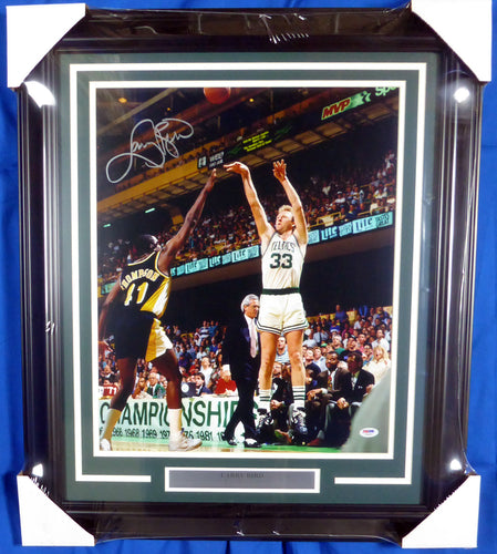 Larry Bird Autographed Framed 16x20 Photo Boston Celtics PSA/DNA