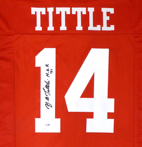 San Francisco 49ers Y.A. Tittle Autographed Red Jersey PSA/DNA