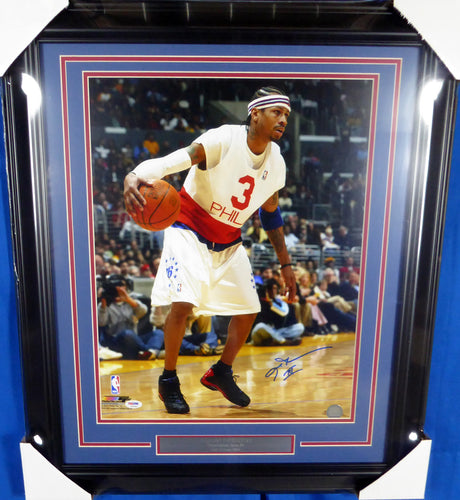 Allen Iverson Autographed Framed 16x20 Photo Philadelphia 76ers PSA/DNA