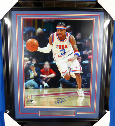 Allen Iverson Autographed Framed 16x20 Photo Philadelphia 76ers All Star Game PSA/DNA