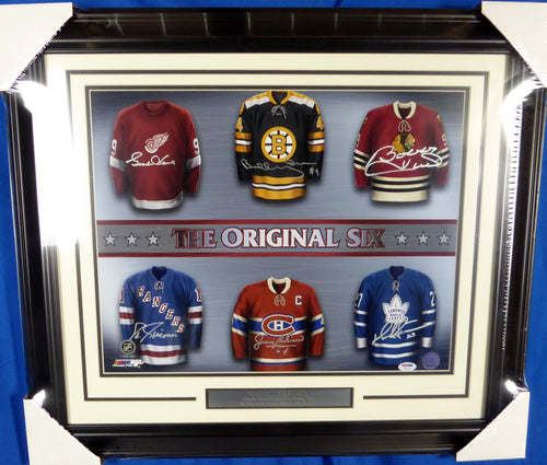 NHL Hall of Famers The Original Six Autographed Framed 16x20 Photo With 6 Signatures Including Gordie Howe, Bobby Hull & Bobby Orr PSA/DNA