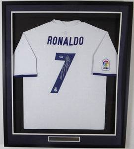 new arrivals 18e92 9355d Cristiano Ronaldo Autographed Framed Real Madrid Fly Emirates Adidas  Authentic White Jersey PSA/DNA