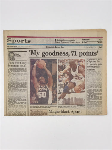 San Antonio Express News Full Sports Section from 4/25/94 (David Robinson 71 points)