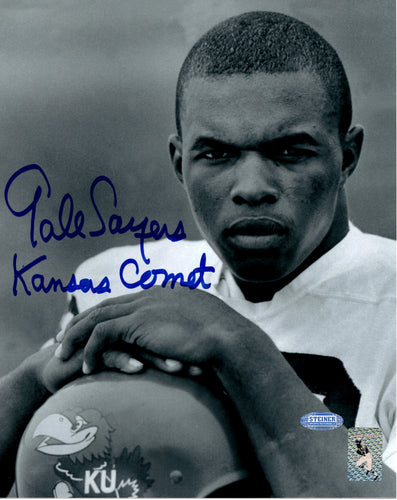 Gale Sayers signed black and white Kansas insc