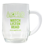 Ag PhD Watch Listen Read Glass Coffee Cup