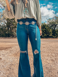 The Zella Turquoise Concho Belt
