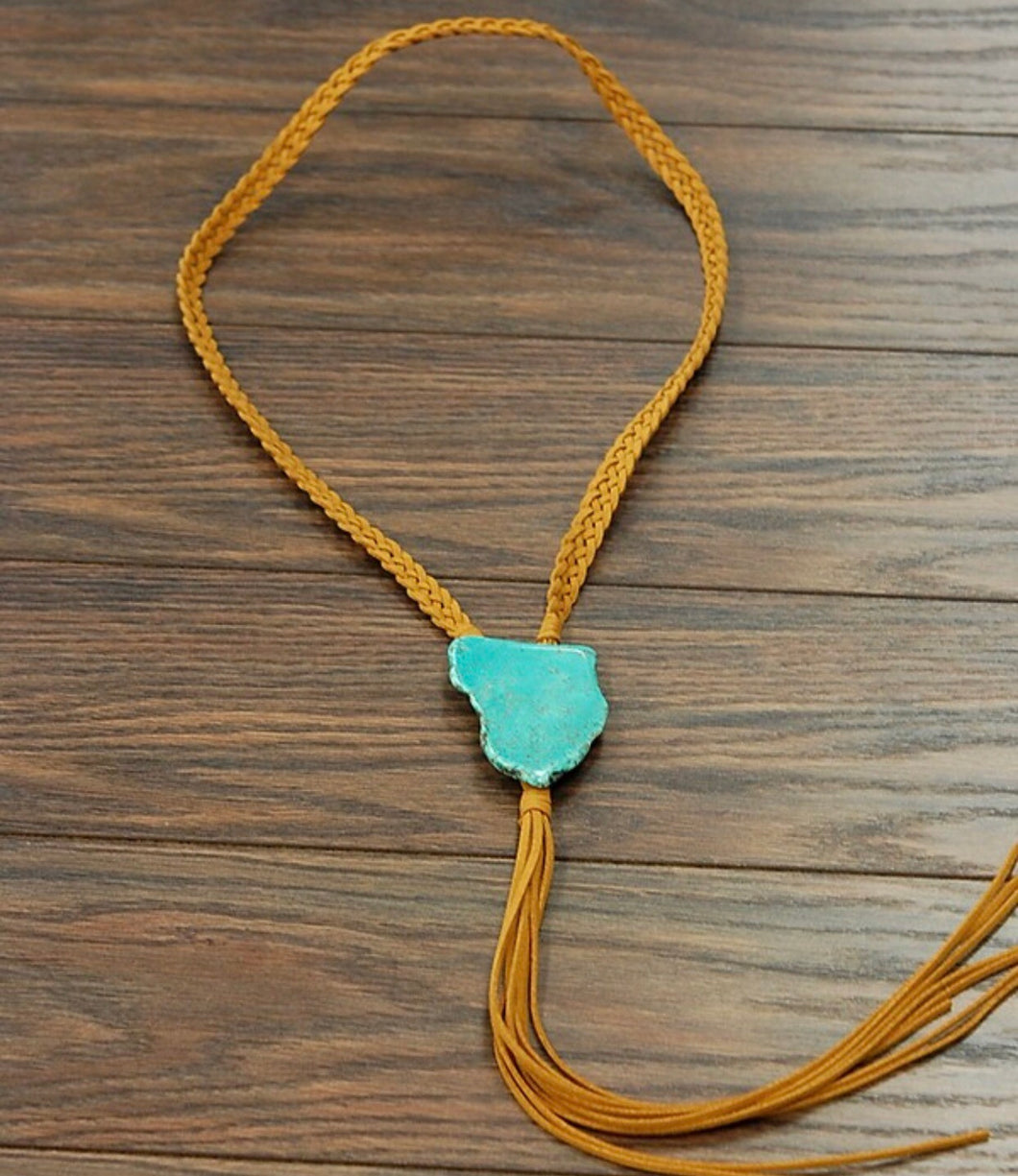 Tan suede turquoise slab necklace