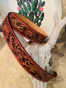 Leather Tooled Purse Strap ( Red & Brown)