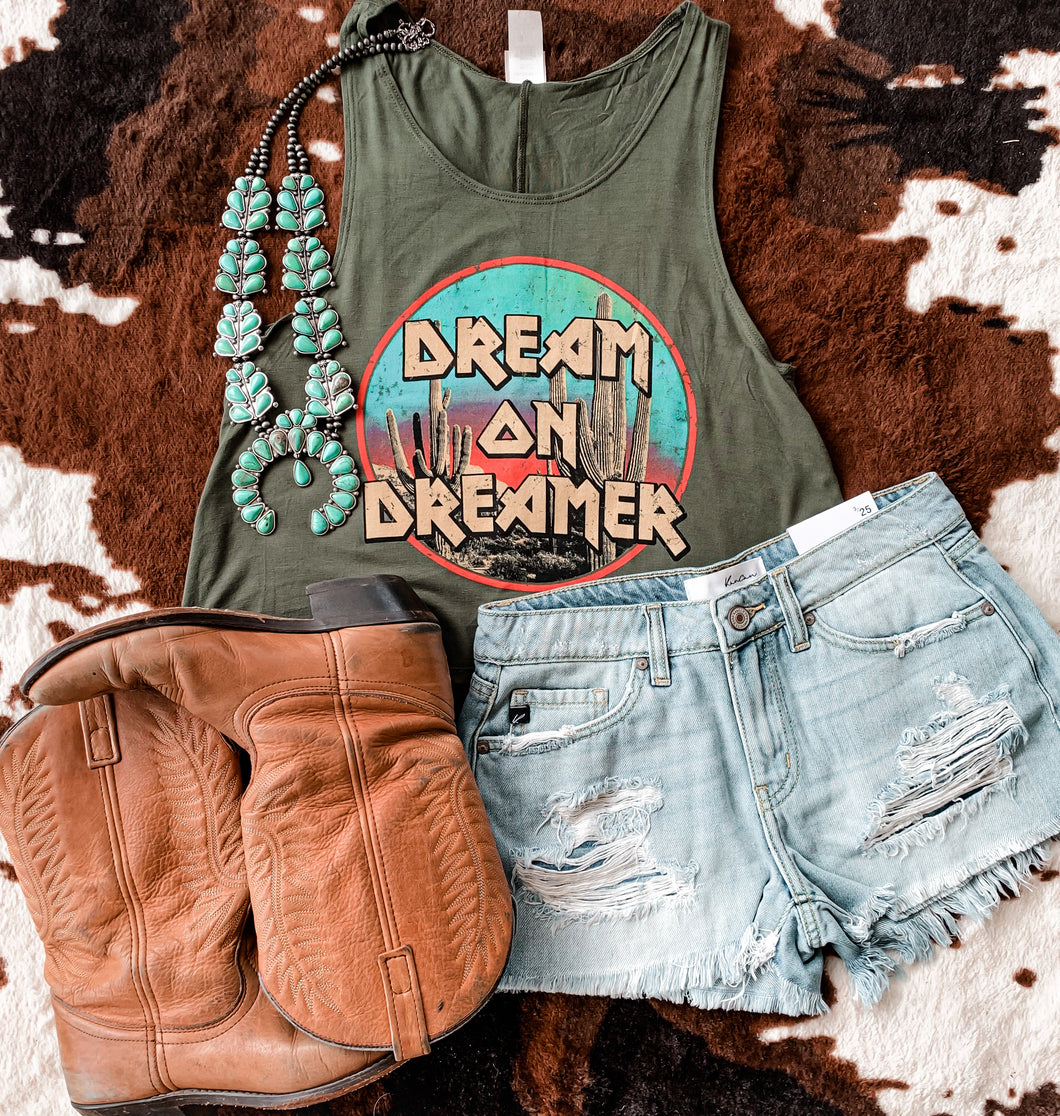 Dream On Dreamer Crop Top (Olive)