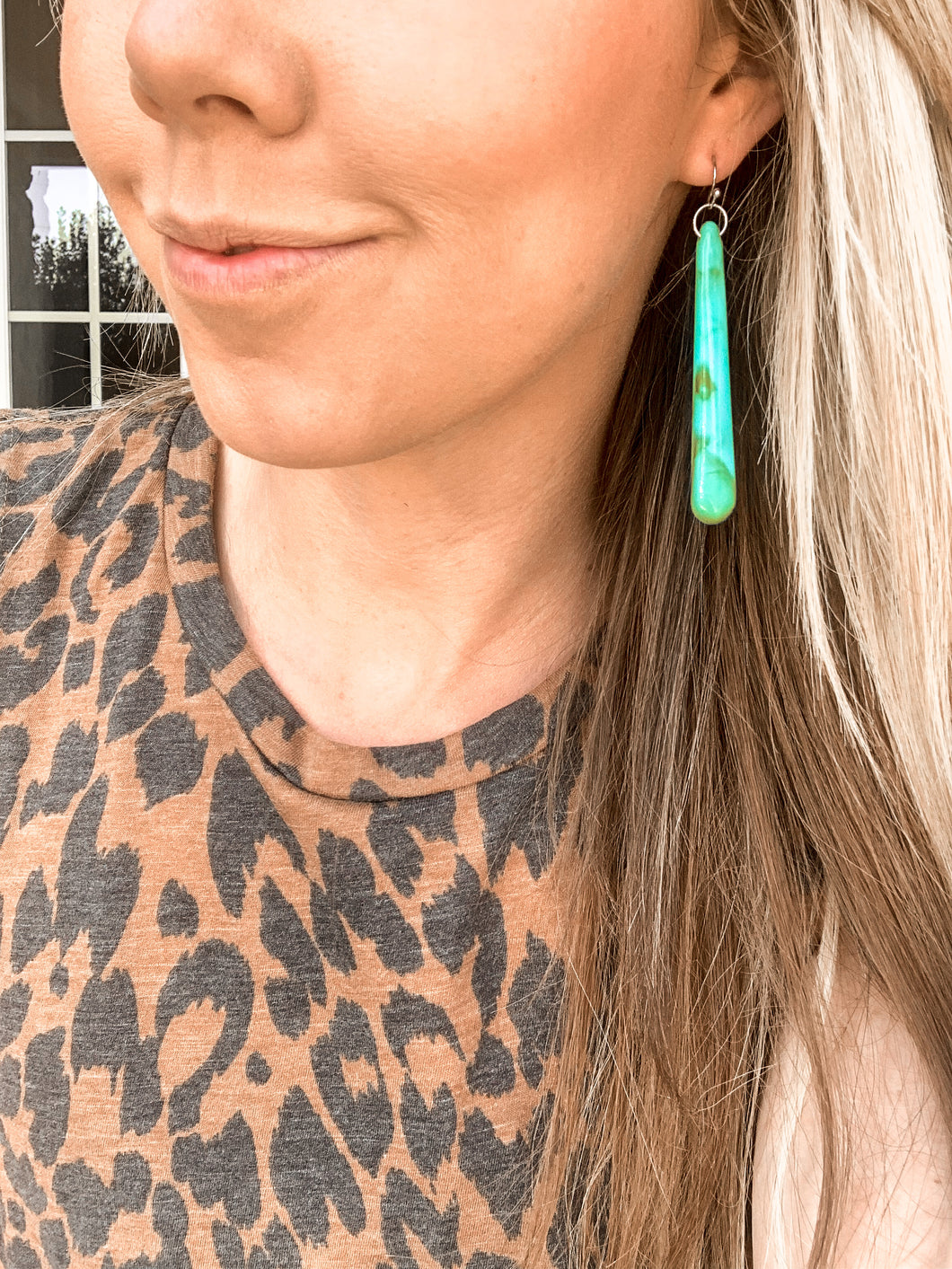 Penelope Long Turquoise Earrings