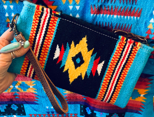 The Ole Little Bill Saddle Blanket Wristlet (Blue & Black)
