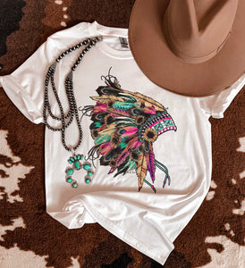 Forever Feather Headdress Tee (White)