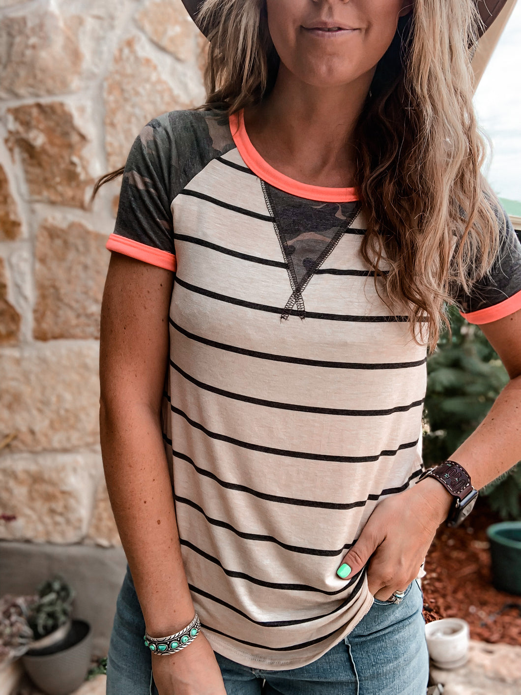 The Oakville Camo and Stripe Top