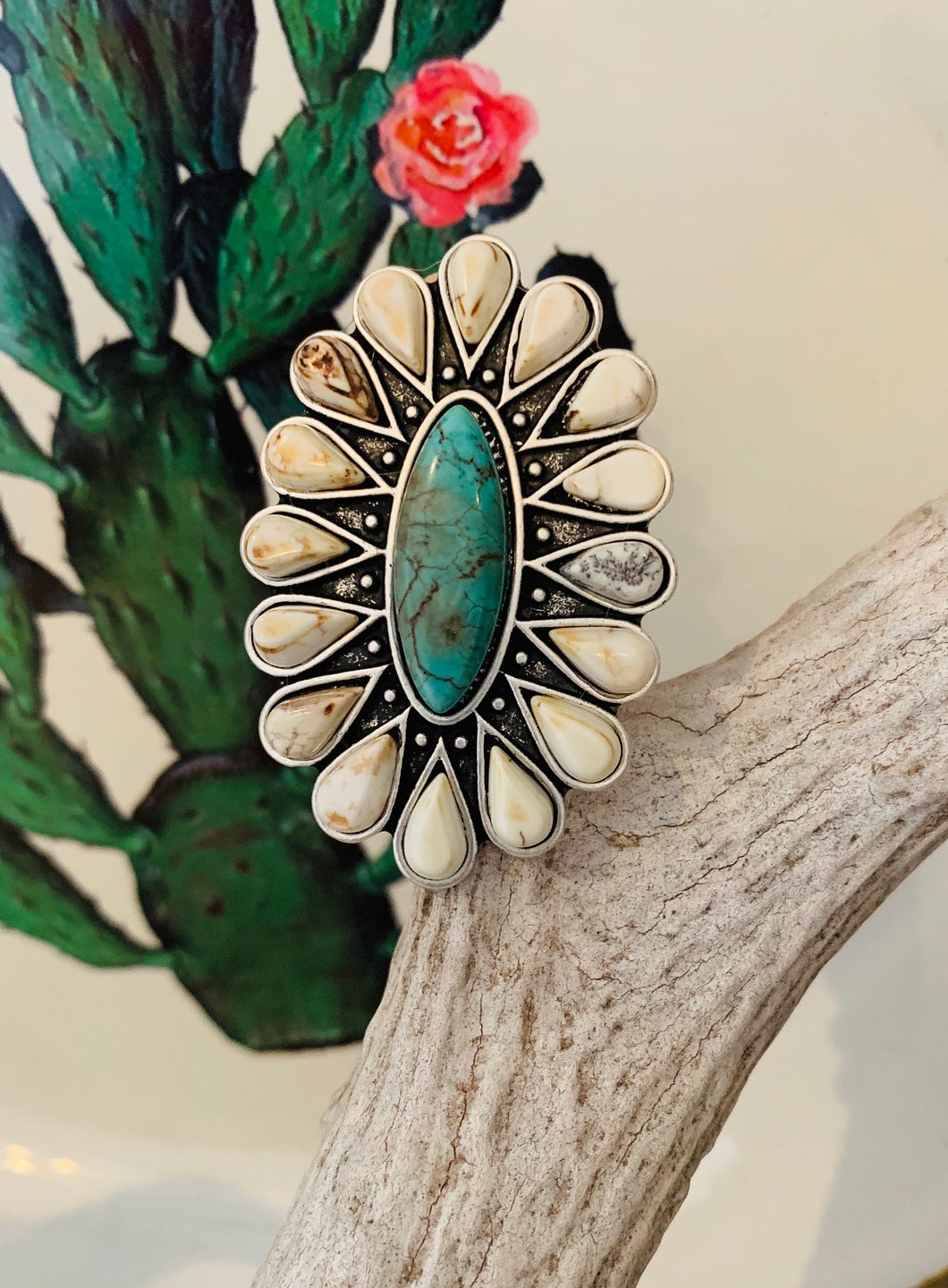 White Flower Ring With Turquoise
