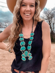 The Ady Turquoise Squash Blossom Necklace