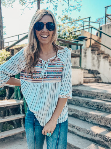 The Gazelle Embroidered Stripe Top