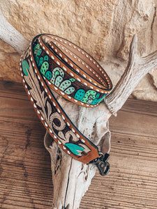 Leather Tooled Purse Strap (Cactus & White Feathers)