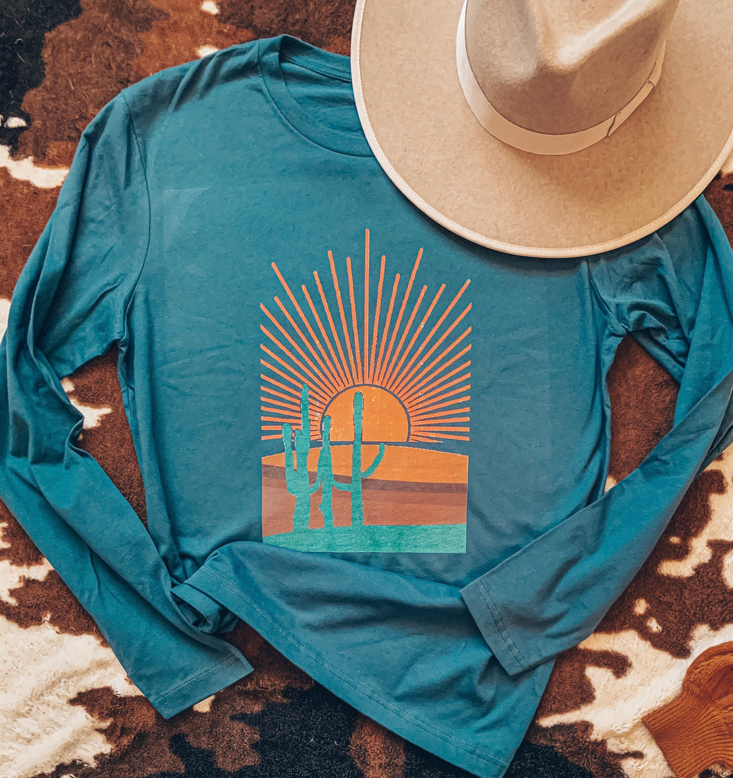 The Lonesome Cactus Desert Long Sleeve (Blue)
