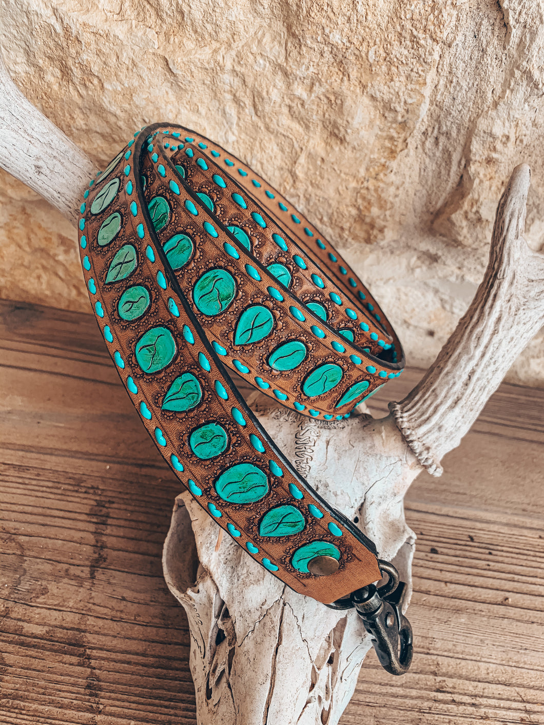 Leather Tooled Purse Strap (Turquoise Stone)
