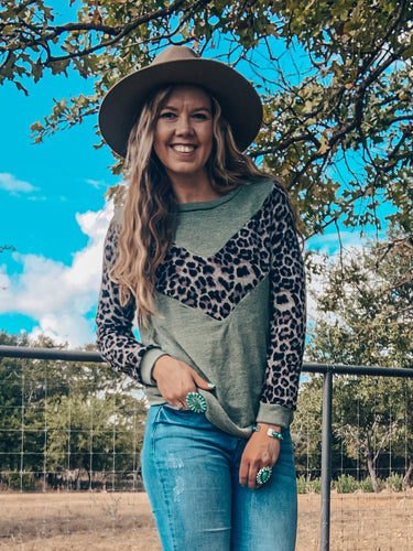 The Denison Leopard Long Sleeve (Olive)