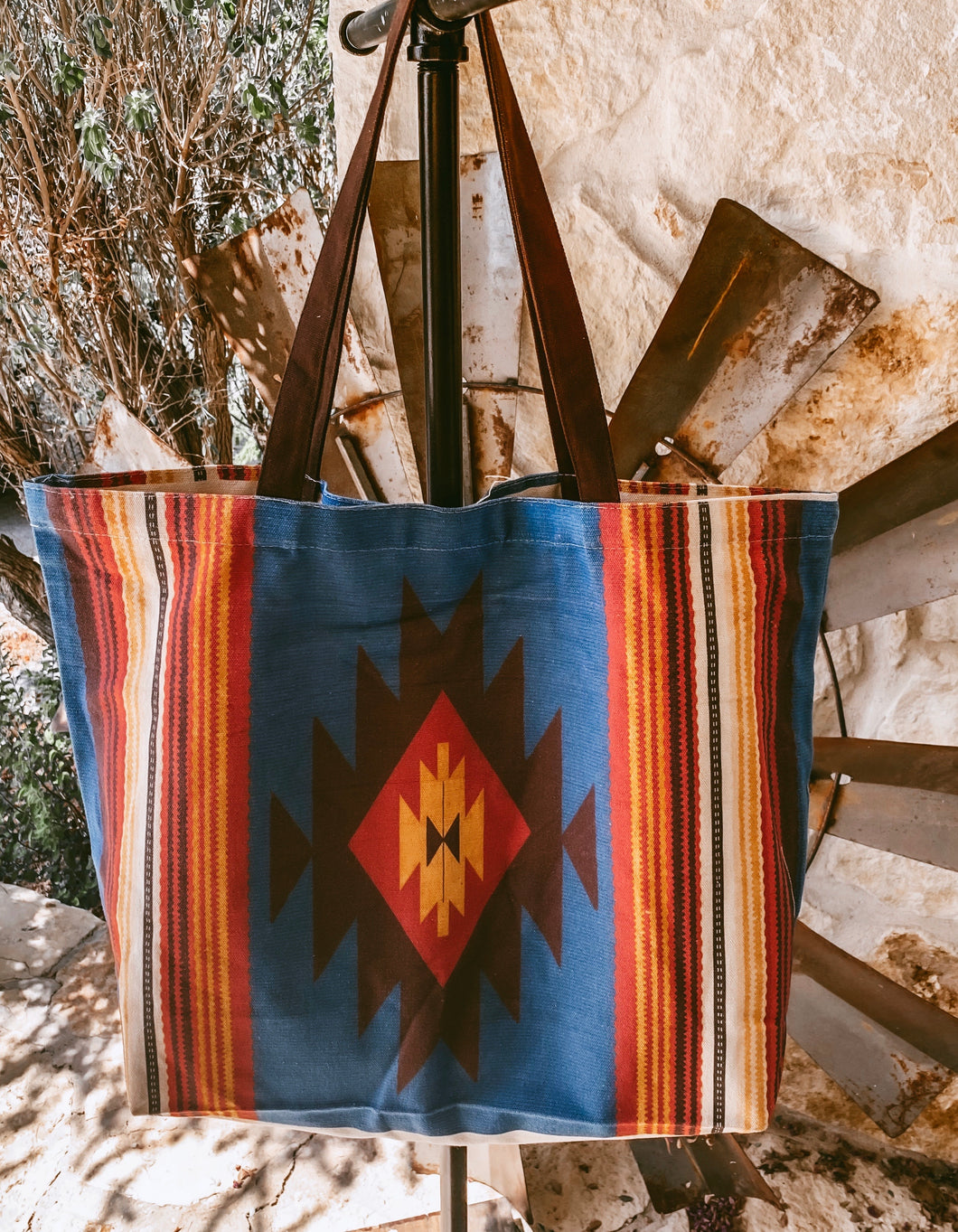 The Fowler Canvas Tote (Blue Aztec)