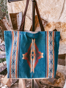 The Fowler Canvas Tote (Jade Brown Aztec)