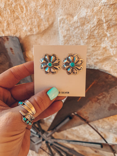 The Pueblo Turquoise Flower Earrings