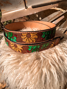 Leather Tooled Purse Strap (Sunflower & Cactus)