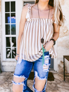The Bethany Stripe Top (Mocha)