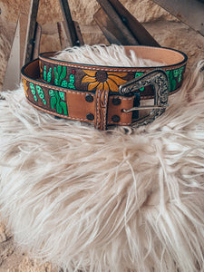 The Burleson Tooled Leather Belt (Sunflower & Cactus)